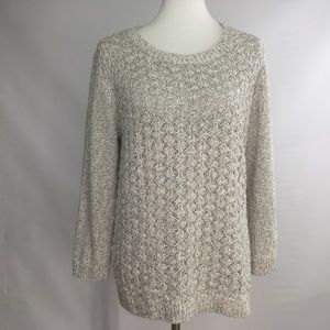 Lou & Grey Textured Knit Crew Neck Sweater Sz L